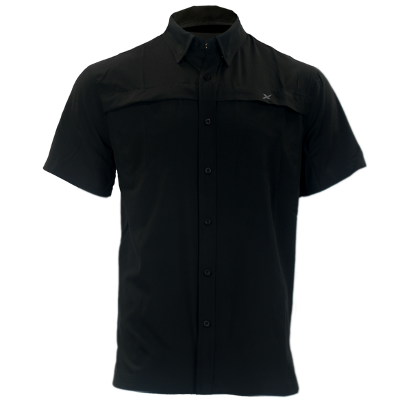 Black Button Down Fishing Shirt-Short Sleeve Woven Shirt-Xotic Camo & Fishing Gear