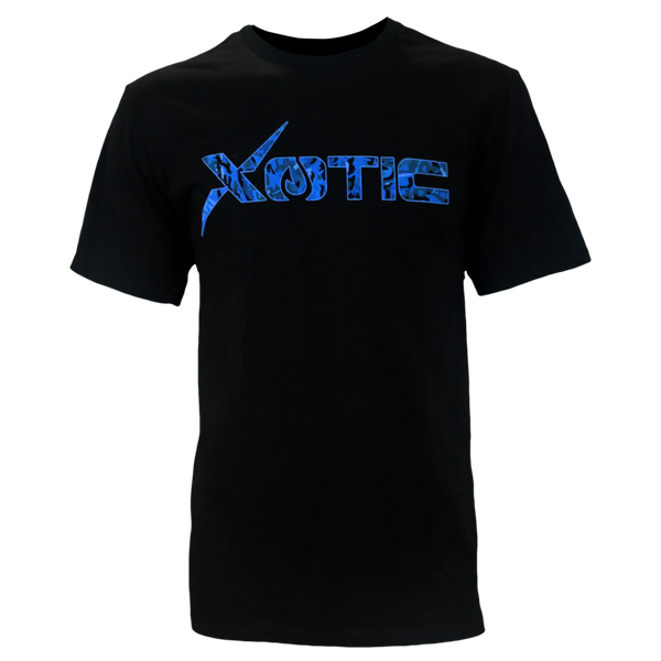 Black T-Shirt with Blue Water logo-Lifestyle Shirts-Xotic Camo & Fishing Gear