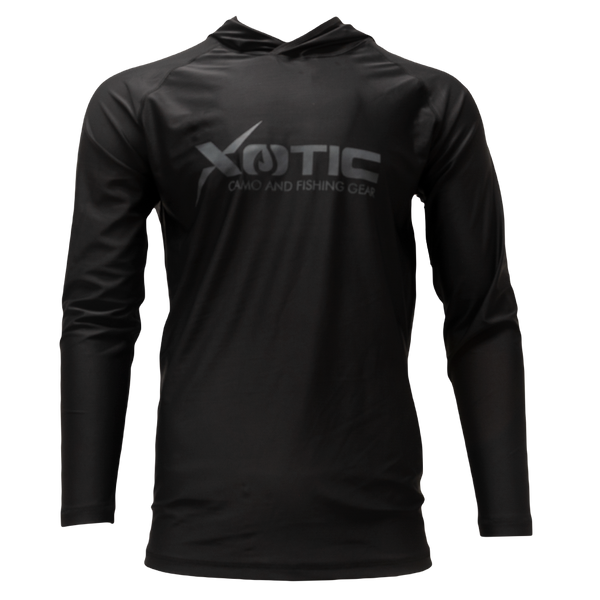 Black Long Sleeve Hooded Performance Shirt with Repel X
