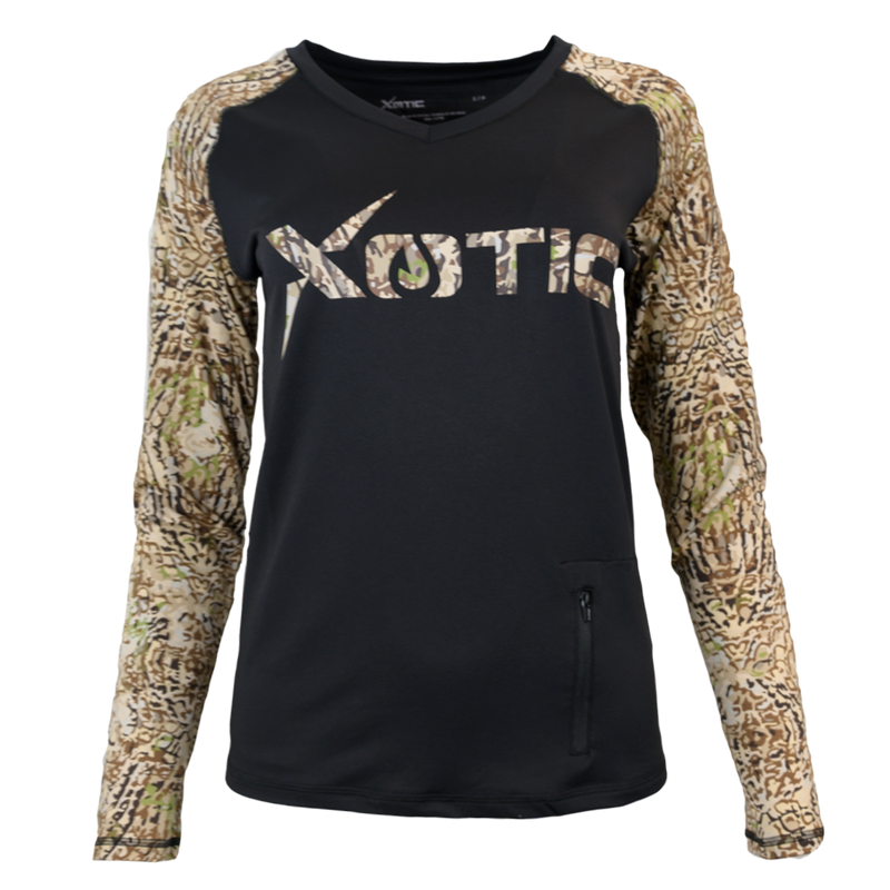 HD Camo Black Body Women's Performance Hunting Shirt-Womens Performance Shirt-Xotic Camo & Fishing Gear