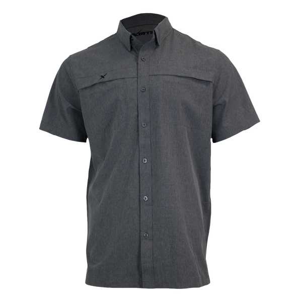 Heather Grey Button Down Fishing Shirt-Short Sleeve Woven Shirt-Xotic Camo & Fishing Gear