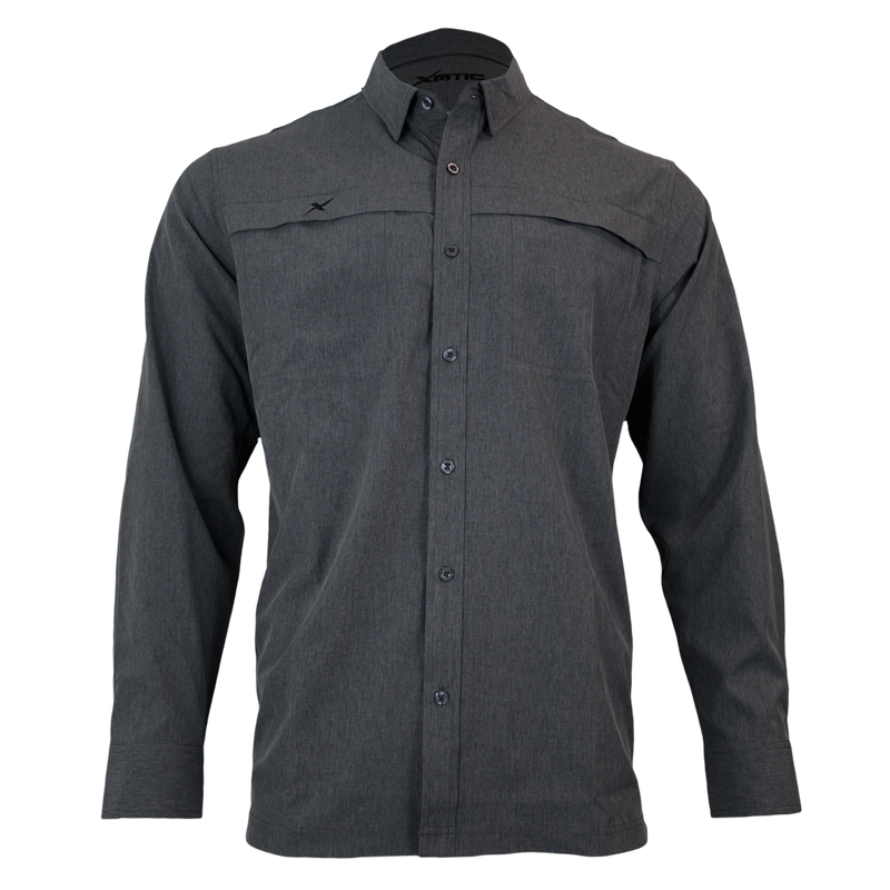 Heather Grey Button Down Fishing Shirt-Button Down Fishing shirt-Xotic Camo & Fishing Gear