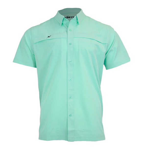 Ice Green Button Down Fishing Shirt-Short Sleeve Woven Shirt-Xotic Camo & Fishing Gear