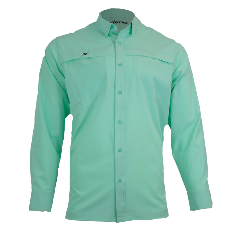 Ice Green Button Down Fishing Shirt-Button Down Fishing shirt-Xotic Camo & Fishing Gear
