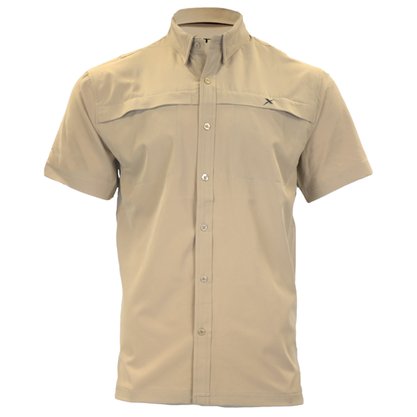 Khaki Button Down Fishing Shirt-Short Sleeve Woven Shirt-Xotic Camo & Fishing Gear