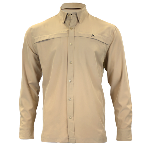 Khaki Button Down Fishing Shirt-Button Down Fishing shirt-Xotic Camo & Fishing Gear