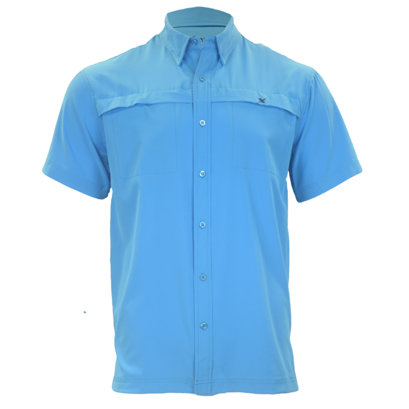 Light Blue Button Down Fishing Shirt-Short Sleeve Woven Shirt-Xotic Camo & Fishing Gear