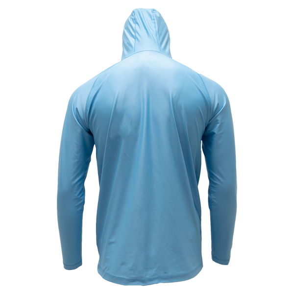 Light Blue Long Sleeve Hooded Performance Shirt with Repel X