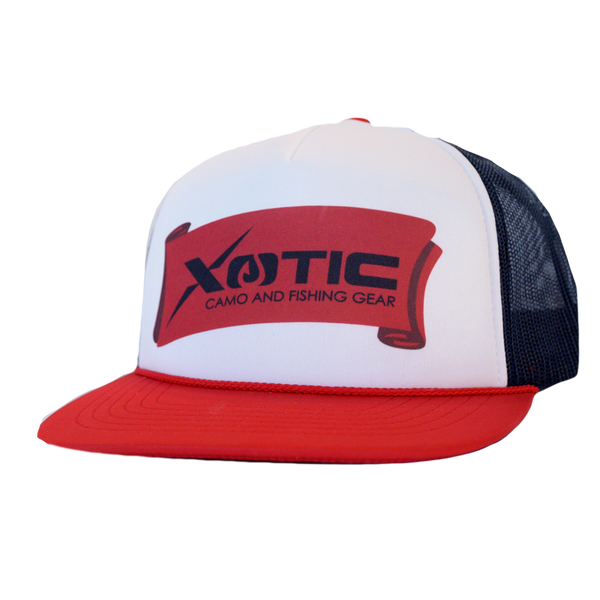 Limited Edition Red White and Blue Xotic Camo and Fishing Gear Banner Cap.-Xotic Camo & Fishing Gear