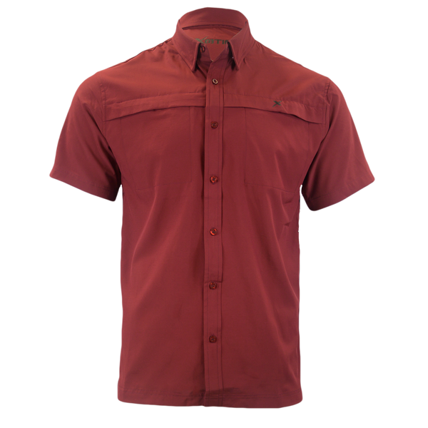 Maroon Button Down Fishing Shirt-Short Sleeve Woven Shirt-Xotic Camo & Fishing Gear