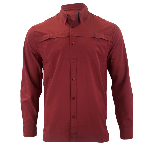 Maroon Button Down Fishing Shirt-Button Down Fishing shirt-Xotic Camo & Fishing Gear