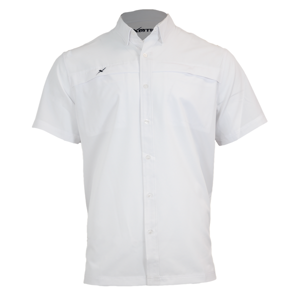 White Button Down Fishing Shirt-Short Sleeve Woven Shirt-Xotic Camo & Fishing Gear