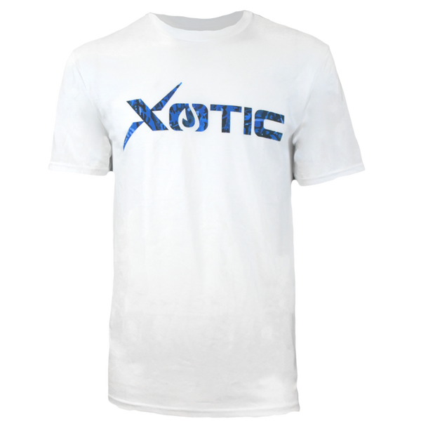White T-Shirt with Blue Water logo-Lifestyle Shirts-Xotic Camo & Fishing Gear