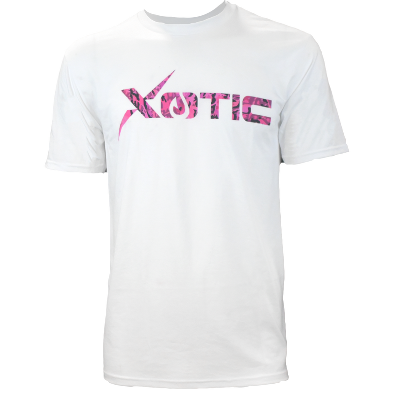 White T-Shirt with Pink Snapper logo-Lifestyle Shirts-Xotic Camo & Fishing Gear