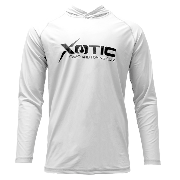 White Long Sleeve Hooded Performance Shirt with Repel X