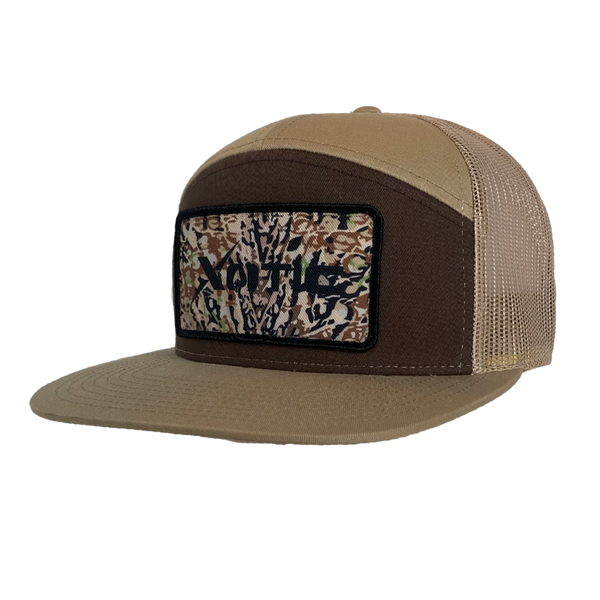 Xotic 7 Panel Brown/Khaki with HD Patch-Hat-Xotic Camo & Fishing Gear
