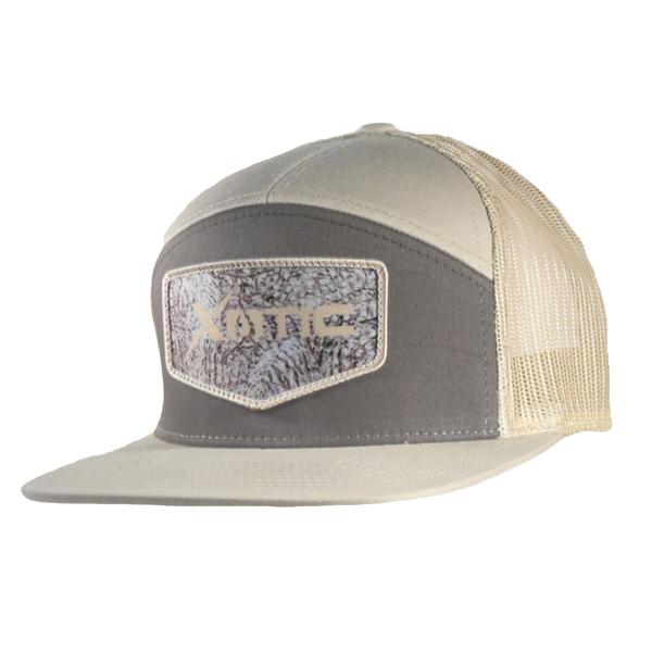 Xotic 7 Panel Brown/Khaki with Waterfowl Camo Patch Hat-Hat-Xotic Camo & Fishing Gear