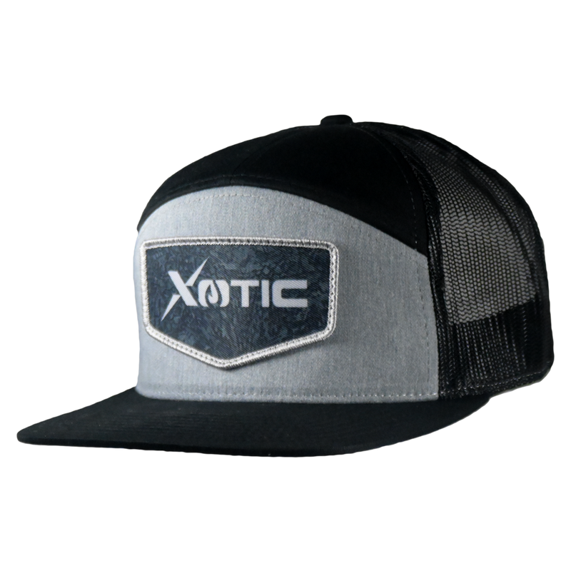 Xotic 7 Panel Heather Grey/Black with Recon Patch Hat-Hat-Xotic Camo & Fishing Gear