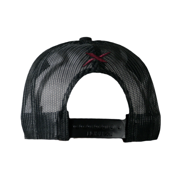 Xotic Black/Black Maroon Logo Hat-Hat-Xotic Camo & Fishing Gear