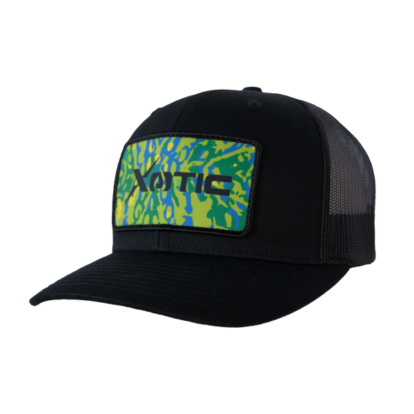 Xotic Black/Black with Mahi Patch Hat-Hat-Xotic Camo & Fishing Gear
