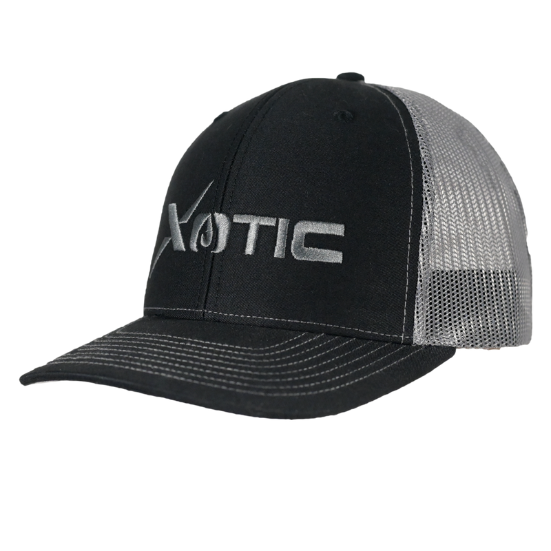 Xotic Black/Charcoal Charcoal Logo Hat-Hat-Xotic Camo & Fishing Gear