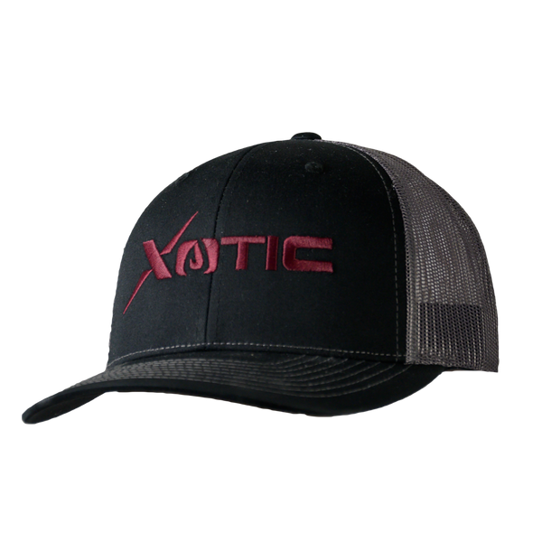 Xotic Black/Charcoal Maroon Logo Hat-Hat-Xotic Camo & Fishing Gear
