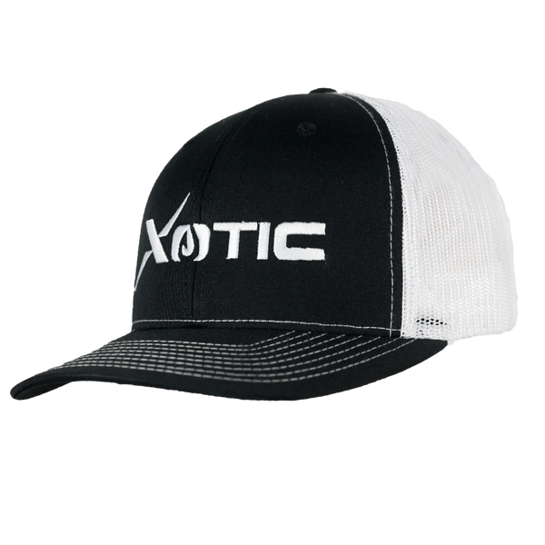 Xotic Black/White White Logo Hat-Hat-Xotic Camo & Fishing Gear
