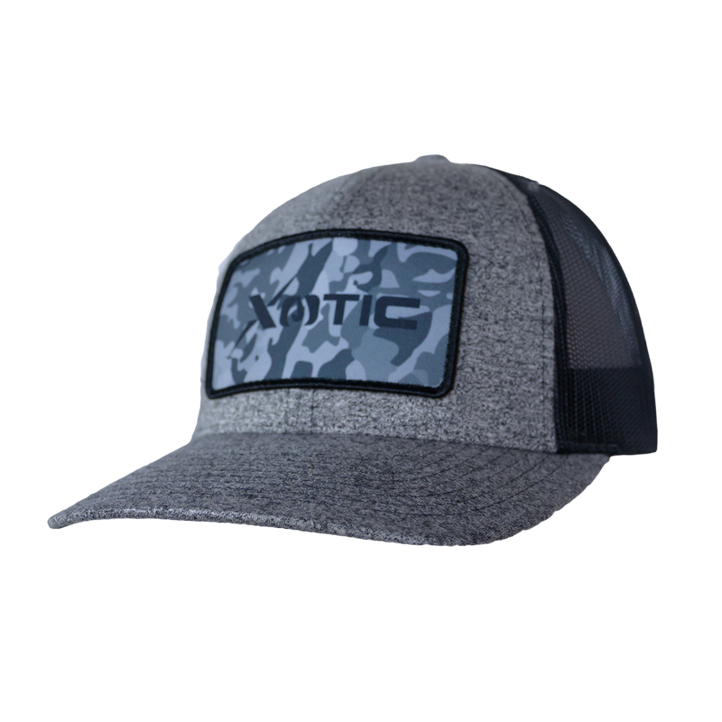 Xotic Heather Black/Black with Recon Patch Hat-Hat-Xotic Camo & Fishing Gear