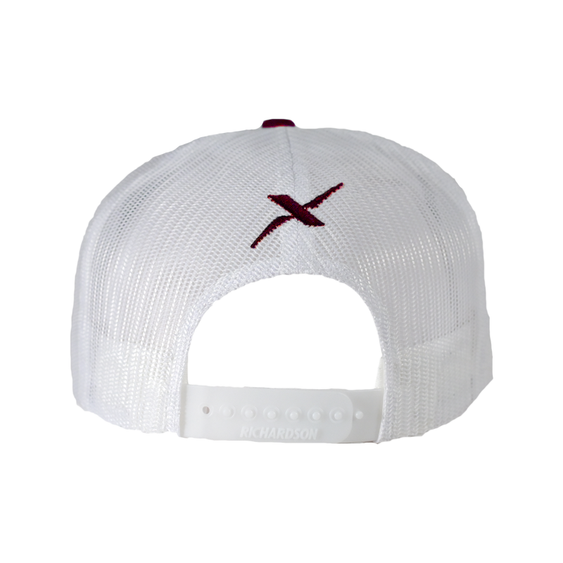 Xotic Maroon/White White Hat-Hat-Xotic Camo & Fishing Gear