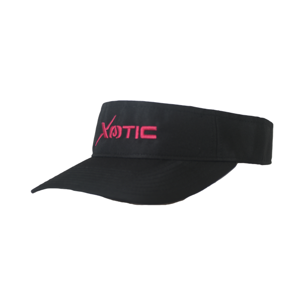 Xotic Visor Black/Black Pink Logo-Hat-Xotic Camo & Fishing Gear