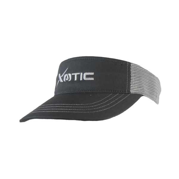 Xotic Visor Charcoal/White White Logo-Hat-Xotic Camo & Fishing Gear