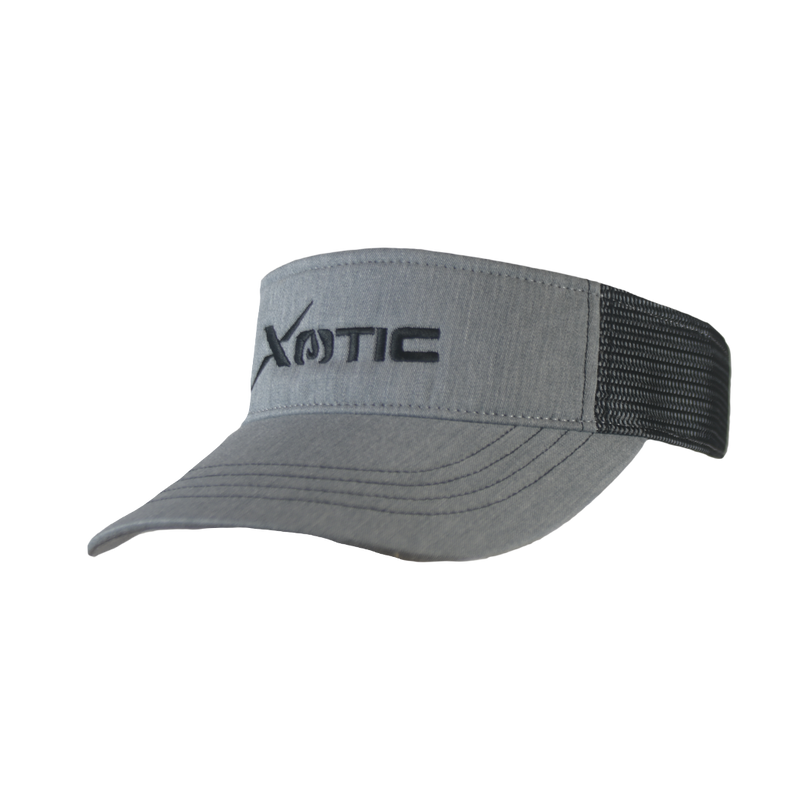 Xotic Visor Heather Grey/Black Black Logo-Hat-Xotic Camo & Fishing Gear