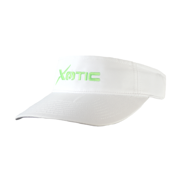 Xotic Visor White/White Green Logo-Hat-Xotic Camo & Fishing Gear