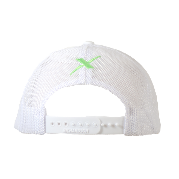 Xotic White/White Green Logo Hat-Hat-Xotic Camo & Fishing Gear