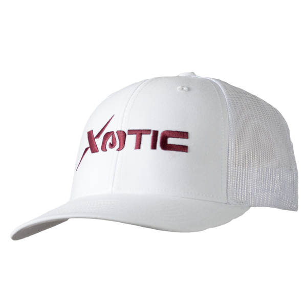 Xotic White/White Maroon Logo Hat-Hat-Xotic Camo & Fishing Gear