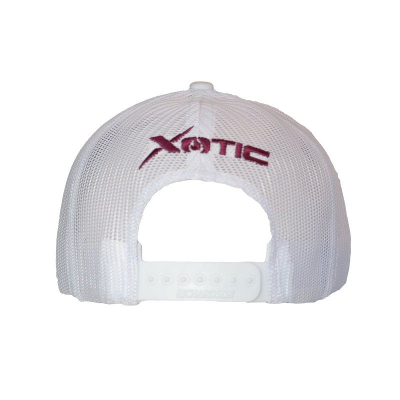Xotic White/White Maroon X Hat-Hat-Xotic Camo & Fishing Gear