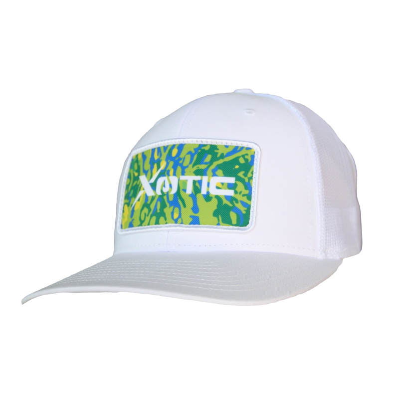 Xotic White/White with Mahi Patch-Hat-Xotic Camo & Fishing Gear