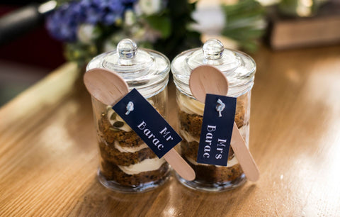 Cake Jars with Name Tags on them