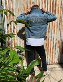 Load image into Gallery viewer, Vintage denim jacket worn by a women in casual pants and sneakers with her back facing you with WIFEY written on the top of the jacket in sparkly writing