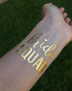 Bride to Be Temporary Gold Hens Party Tattoo
