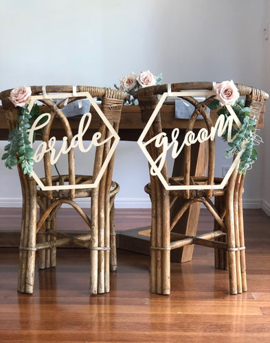 Bride and Groom Chair Signs