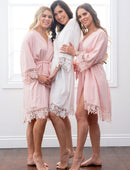 Load image into Gallery viewer, Dafne Lace Cotton Bridal Party Robe - Rose Quartz