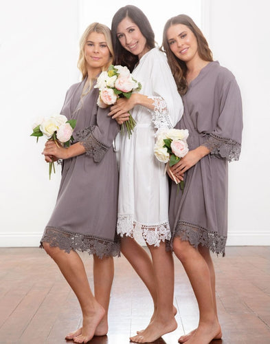 Dafne Lace Cotton Bridal Party Robe - Grey Moonstone