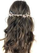 Load image into Gallery viewer, Elena Crystal & Opalescent Rose Gold Bridal Hair Vine Hairpiece