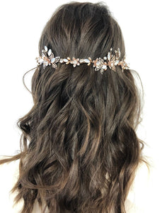 Elena Crystal & Opalescent Rose Gold Bridal Hair Vine Hairpiece