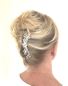Faye Crystal Silver Bridal Comb Hairpiece