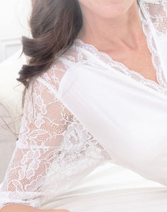 A closeup image of the Luce Silk Lace Robe. This image shows the neckline and sleeve section of this robe. The main robe is made from soft, light fabric and the front neckline and sleeves are a delicate floral lace. Detail in this design is so feminine and elegant.