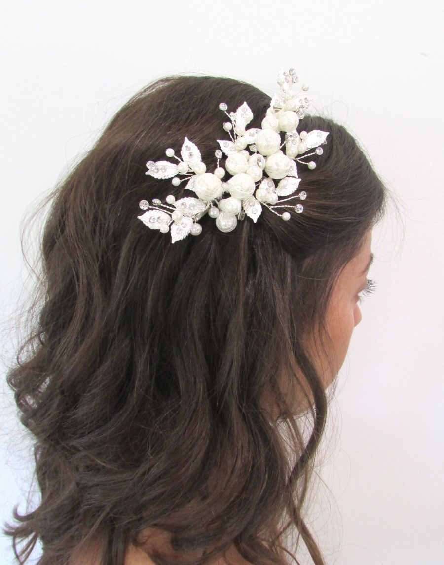 Silver Lace Bridal Clip Hairpiece