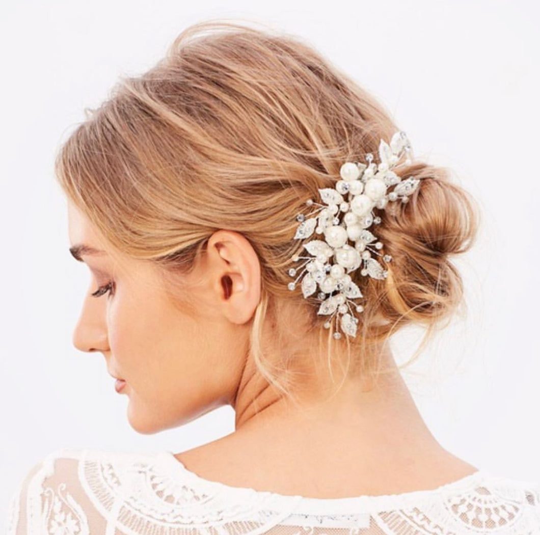 Pearl Swarovski & Lace Silver Bridal Clip Hairpiece
