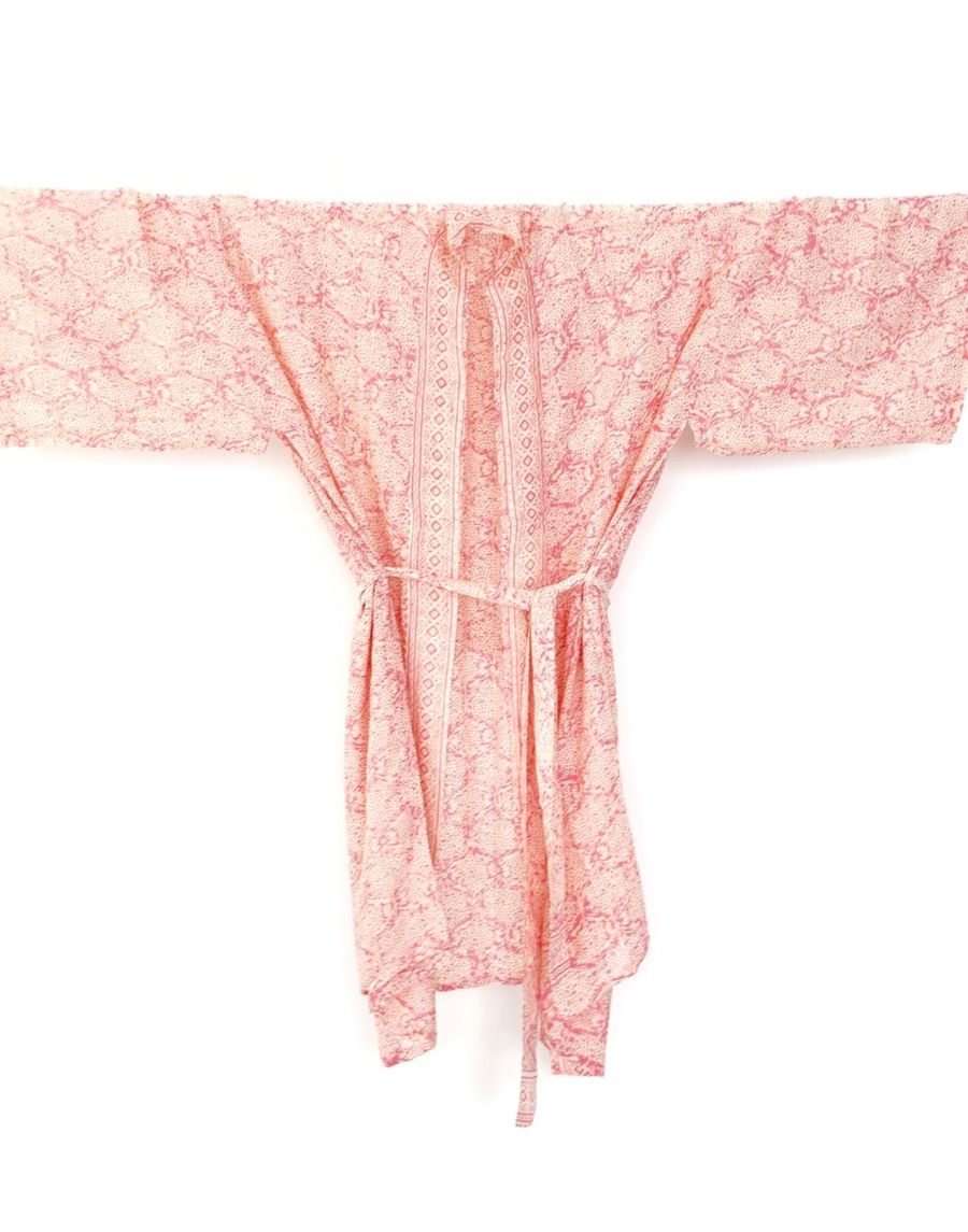An image of a bridal party kimono wedding robe. The rosey pink damask design is elegant and feminine. The image shows the kimono style design and matching robe tie.